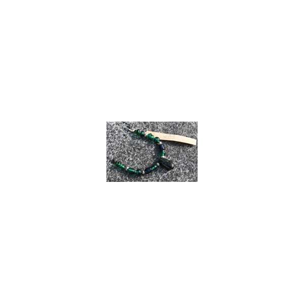 Handgefertigte Kette mit 12 Glasperlen und einem geschliffenen Stein vom Bodensee - Aktion