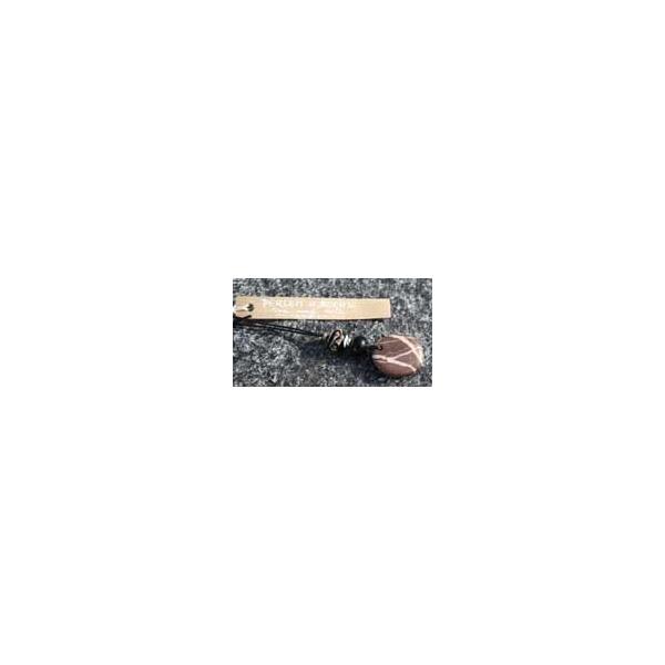 Handgefertigte Kette mit 2 Glasperlen und einem geschliffenem Stein vom Bodensee - Aktion